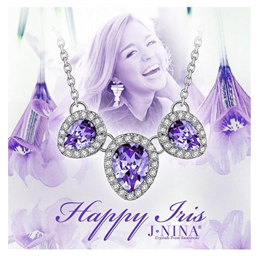 "J.NINA ""Happy Iris"" Women Jewelry Gift Made with Swarovski Crystals, Bib Pendant"