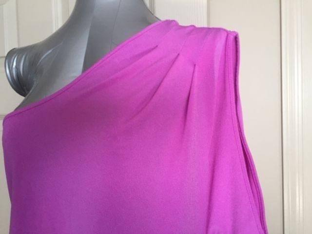 Express Women Top Blouse Size Large Pink One Shoulder One Sleeve Trendy New image 9