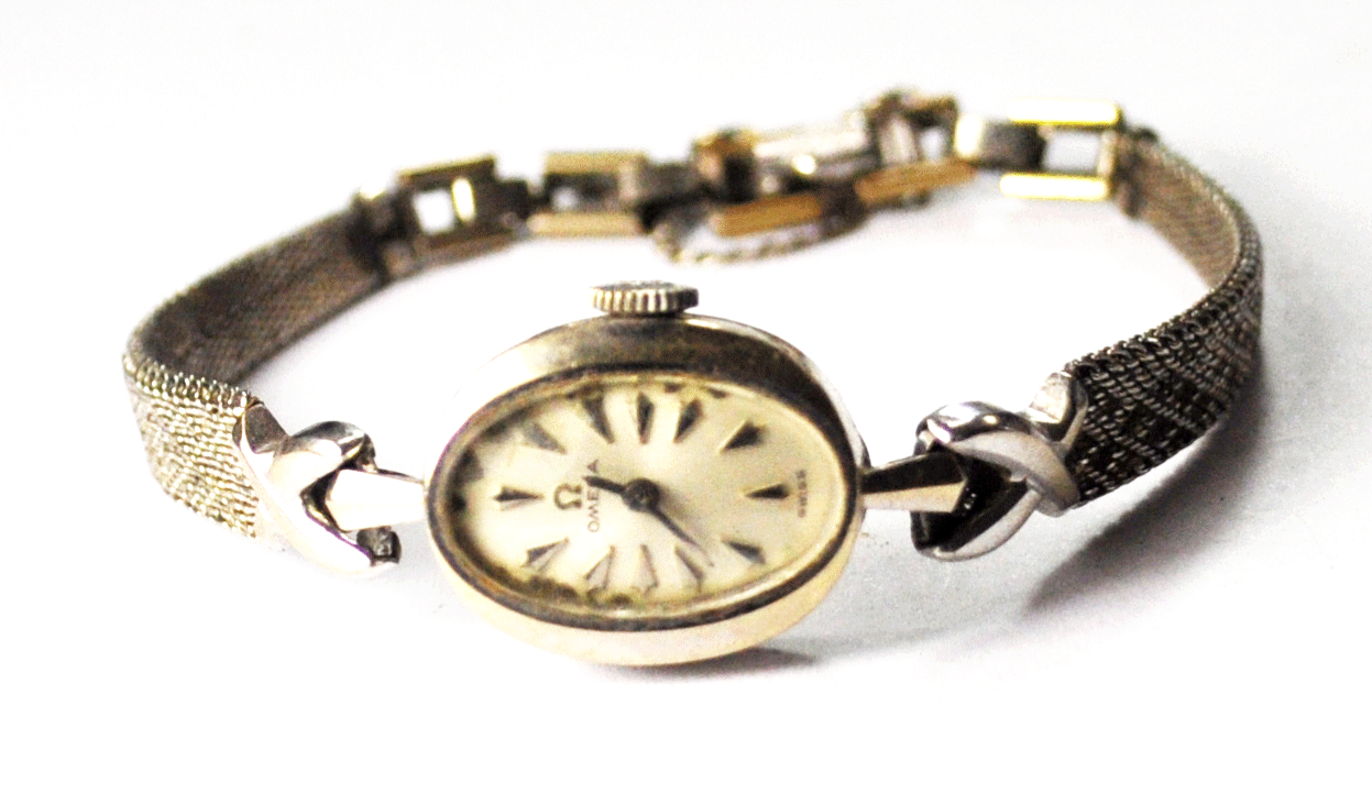Vintage Women's 14k White Gold Omega 484 Wristwatch 14mm GF Band - $197.99