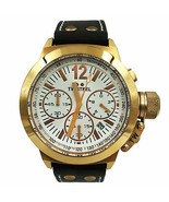 TW Steel CEO Canteen Gold Plated White Dial Leather Quartz Mens Watch CE1019R - $239.00