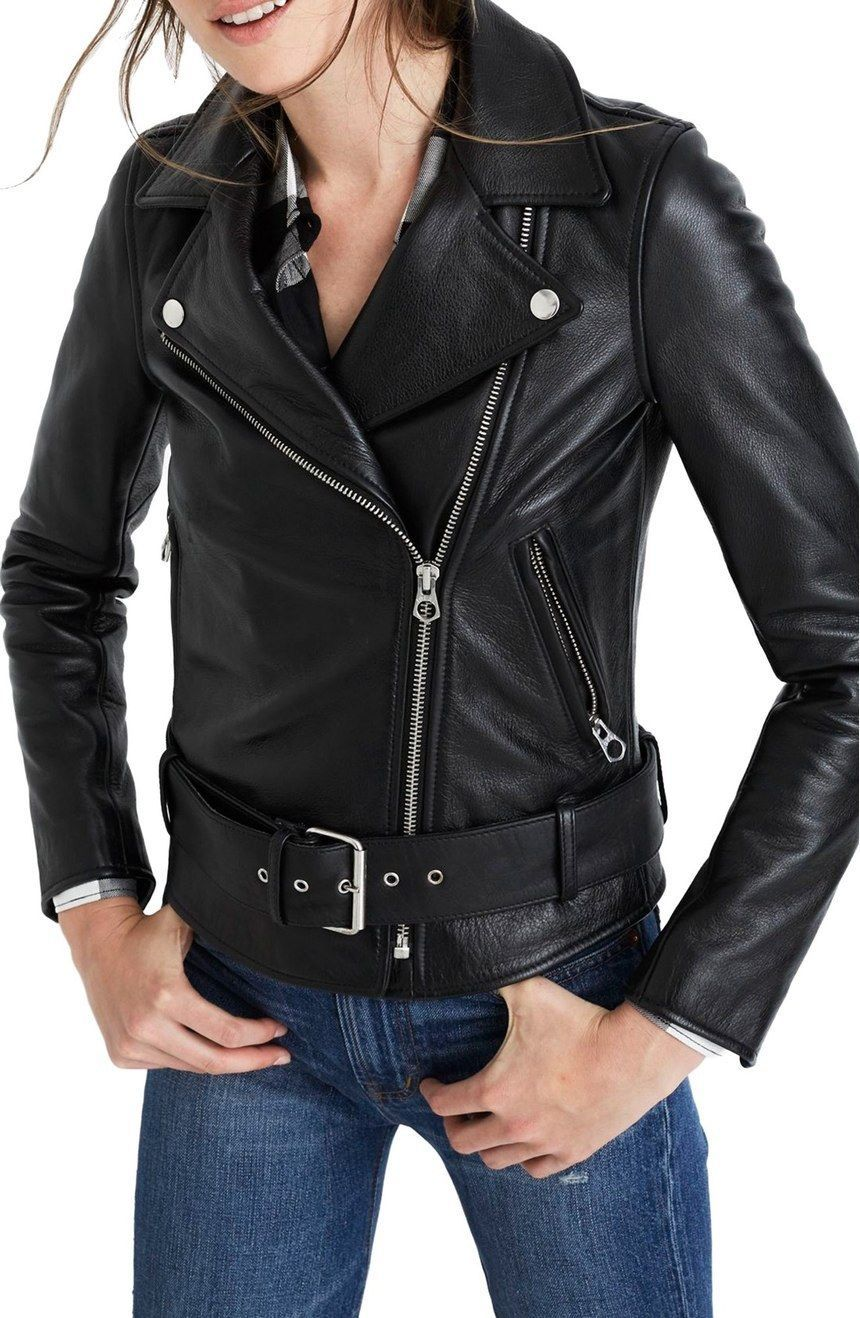 WOMEN BIKER MOTORCYCLE CASUAL SLIM FIT RIDER REAL GENUINE  LEATHER JACKET-A72