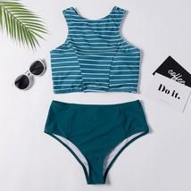 "Female Swimsuits 2019 Women""s Striped Print Bikini Small Split Swimsuit ... - $14.60"