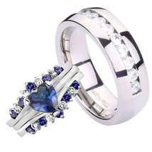 His & Hers Silver 925 Heart 2.6CT Blue CZ Eternity Titanium 4 Pcs Men Ri... - $49.98