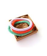 Nepal beaded rope bracelet set, roll on bangle coral mint green lilac bracelet - $11.88