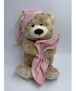 Toys R Us Pink Tan Bedtime Teddy Bear Plush Hat Star Blanket Stuffed Animal - $16.99