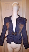 JON Women's Designer Artsy  Blue DENIM Jeweled JACKET Stretch Blazer Sz 6 - $17.60