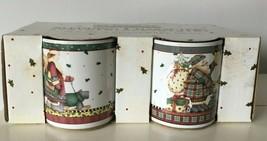 Debbie Mumm Sledding Characters Snowman Coffee Mug Cup Sakura Stoneware NIB s/ 4 - $20.20