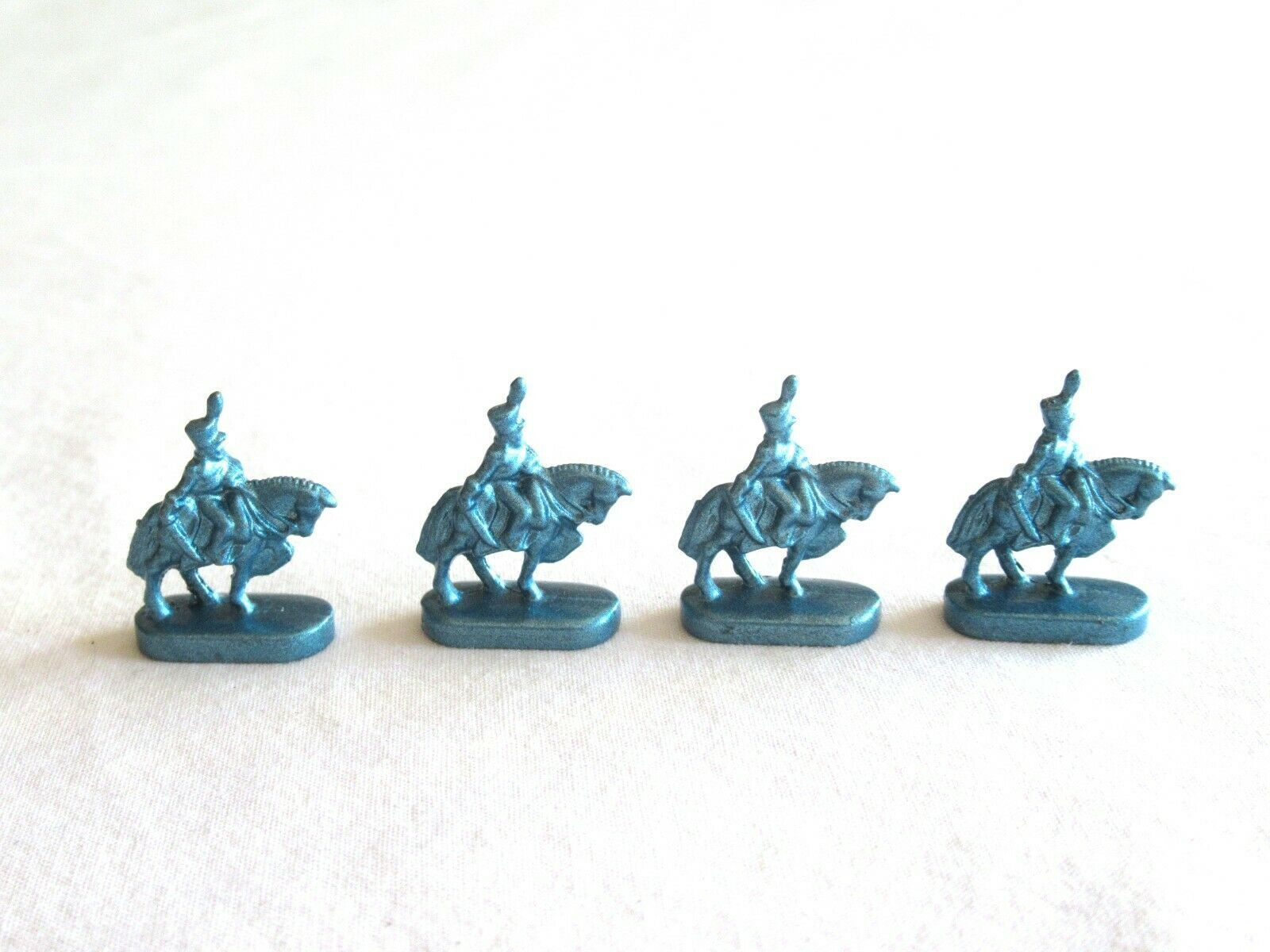 Primary image for 4x Risk 40th Anniversary Edition Board Game Metal Cavalry Soldier Blue Army Lot