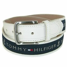 Tommy Hilfiger Men's Ribbon Inlay Anchor Leather Belt 11TL02X032 New W/O Tags