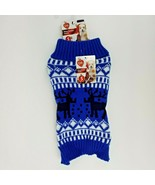 Puppy Dog Blue Christmas Winter Sweater Small Reindeer - $11.99