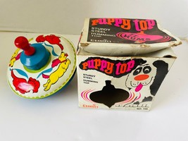 Chein tin litho Puppy Toy Spinning Top Bright Colors Dogs Pups Box 1970 USA - $43.20