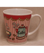 Ceramic Coffee Lovers Mug Café Red Stripe Pot Cup & Bean Design - $9.89