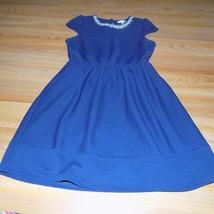 Size Large 10-12 Monteau Los Angeles Navy Blue Pearl Embellished Neck Dr... - $24.00