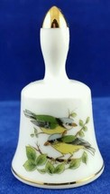 Porcelain Bell with Birds Sparrows Blue Yellow Made in Japan - $8.99