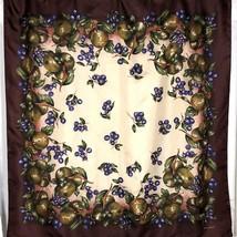 Echo Silk Scarf Square Brown Border Grapes Fruit Cream Center Vintage 35 In - $24.75