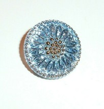 Pretty Daisy Sky Blue Czech Glass w/ Gold Finish Shank Button 18mm Silve... - $6.43
