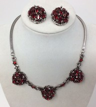 Vintage 1950s Barclay Ruby Red Rhinestone Silver Tone Petite Necklace & ... - $88.83