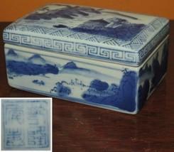"Chinese Box 5""x3"" marked Qing Qianlong blue white Antique Vintage mounta... - $125.99"