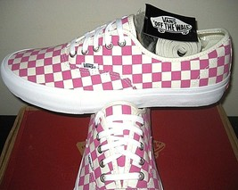 Vans Mens Authentic Pro Checkerboard Fuchsia Pink White Skate shoes Size... - $52.55