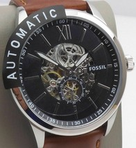 BRAND NEW Fossil BQ2270 Flynn Automatic Brown Leather Black Dial Men's W... - $112.85