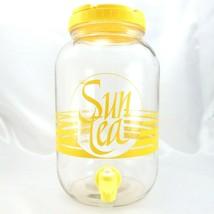 Vintage Sun Tea Gallon Yellow Jug Jar Pitcher Dispenser Flip Lid & Push ... - $30.00