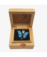 David Mora Painted Wood Butterfly Pendant Sterling Silver Bail With Wood... - $36.86