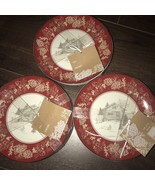 222 FIFTH Andover Snow Log Cabin Appetizer Fruits Plates Set 12 ~NEW ~ - $99.99