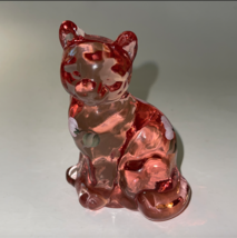 FENTON Clear Glass  CAT PINK HAND PAINTED and Signed Excellent Condition... - $49.99