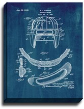 Football Helmet Patent Print Midnight Blue on Canvas - $39.95+