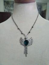 Vintage Necklace Rhinestone Chain W/ Faux Emerald Pave Dazzling Pendant - $35.00