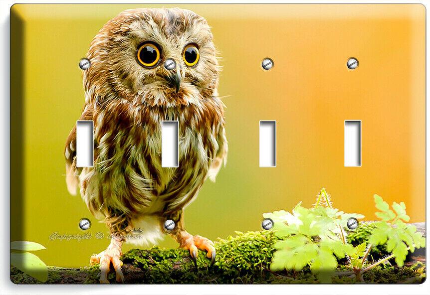 CUTE LITTLE BABY OWL LIGHT SWITCH 4 GANG WALL PLATES BEDROOM NURSERY ROOM DECOR