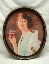 Old Vintage Rustic Coca Cola Coke Woman Coke Glass Litho Tin Metal Servi... - $24.74