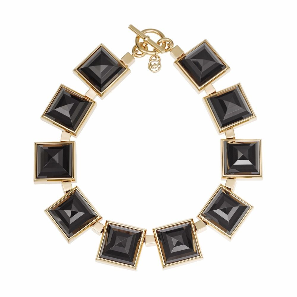 Primary image for MICHAEL KORS MKJ2899 GOLD PLATED LARGE BLACK PYRAMID NECKLACE BNWT $295