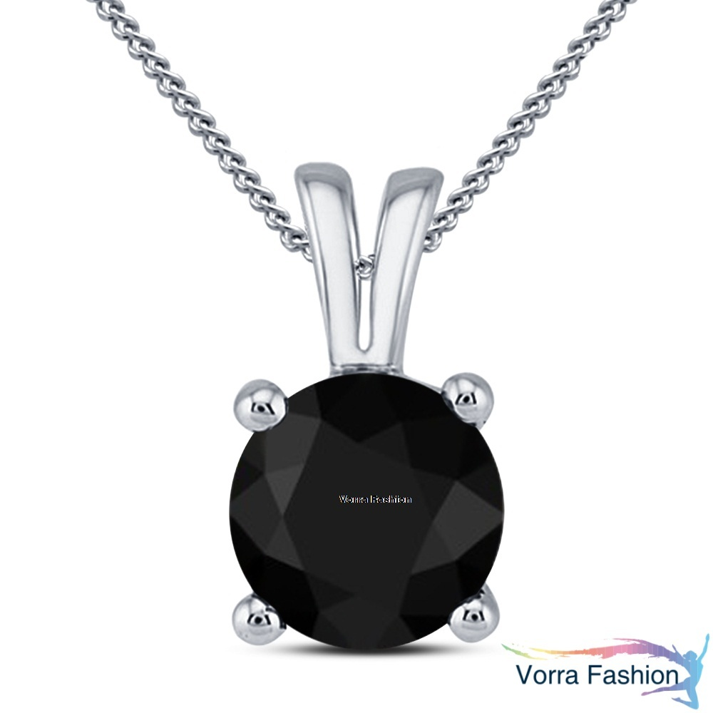 Daily Wear Diamond Solitaire Pendant Necklace Pure 925 Silver White Gold Plated image 1