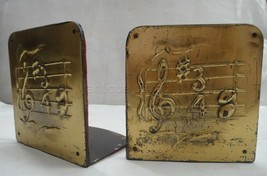 antique ARTS CRAFTS MUSIC NOTES BOOKENDS mission brass plate book end music - $275.00