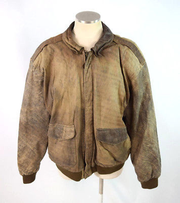0b78f62e4 Vtg 90s GIII Weathered Brown Leather Bomber and 50 similar items