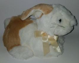 Commonwealth Brown White Bunny Rabbit Plush Stuffed Animal Toy Yellow Bow Easter - $22.72