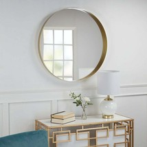 Eagan Large Round Metal Wall Mirror with Flat Gold Boarder - 2.5 In. X 3... - $188.09