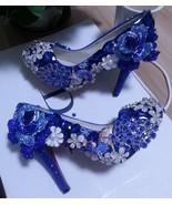 Blue Wedding Shoes Handmade Luxury Bridal Shoes Peacock Blue Rose Glitter Heels - $165.00