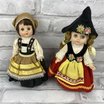 International 2 Dolls Dutch Costumes Plastic Body 7 Inches Open Close Eyes - $19.26