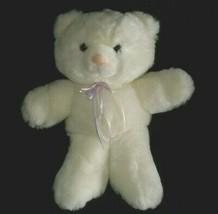 "12"" VINTAGE 1990 COMMONWEALTH WHITE TEDDY BEAR POLKA DOTS STUFFED ANIMAL... - $32.73"