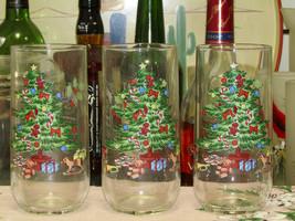 Tienshan Holiday Hostess Christmas Tree Tumblers Set Of Three - $4.95