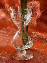 Set of 5 HOURGLASS Shaped Etched Glass Stemmed Shot / Layered Liqueur Glasses image 5