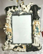 """Vintage 1999 Sculpted Cats Black and White Frame-ology Holds a 4""""x6"""" Photo image 2"""