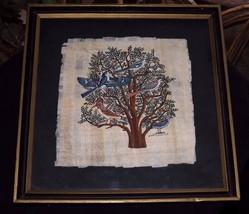 Vintage Islamabad Painting Birds in Tree on Bark Paper Framed - $16.00