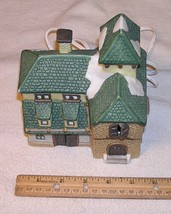 Lighted Ceramic Christmas Village Building - Santa's Best - $7.99