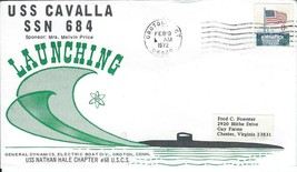 Cavalla (SSN-684) Launching Feb 19 1972 USS Nathan Hale Chap Cachet - $3.47