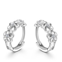 Top Sale 925 Sterling Silver Earring Woven Flowers Shape Hoop Earrings E... - $8.33
