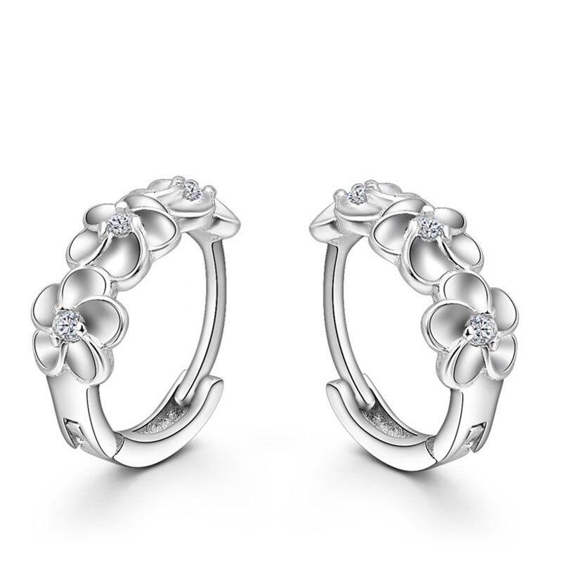 Top Sale 925 Sterling Silver Earring Woven Flowers Shape Hoop Earrings Embed CZ  - $8.33