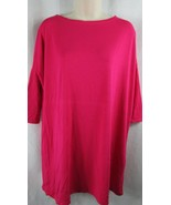 Lolly Wolly Doodle dark hot pink Brooklyn t-shirt dress 3/4 sleeves XS s... - $16.82